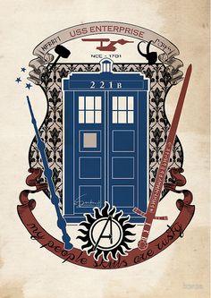 crest of the knight of fandom (a LOT of fandoms actually ;) by koroa on redbubble; DoctorWho,Sherlock,LotR,Supernatural, HarryPotter,Avengers,StarTrek