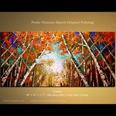 Palette Knife Original Painting Enormous Abstract Modern Canvas Gallery Quality Wrap - Birch Forest Autumn  from P.Nizamas on Etsy, $349.00