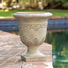 Moroccan Antique Green Stone Urn Planter by Christopher Knight Home
