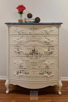 French Provincial Tall Boy Top of dresser done in Behr s Durango Blue Body and hardware done in Fu French Provincial Tall Boy Top of dresser done in Behr s Durango Blue Body and hardware done in Fu Elke aus nbsp hellip provincial dresser makeover Decoupage Furniture, Hand Painted Furniture, Refurbished Furniture, Paint Furniture, Repurposed Furniture, Shabby Chic Furniture, Furniture Projects, Furniture Makeover, Vintage Furniture