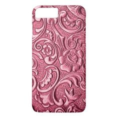 Faux Shiny Pink Antique Baroque Floral Pattern iPhone 8 Plus/7 Plus Case - retro gifts style cyo diy special idea