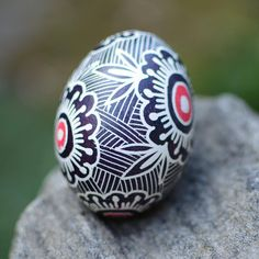 Pysanka Ukrainian Easter egg in black and white beautiful gift