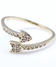 Arrow Ring With Rhinestones - I'd wear this as a kitschy Valentine's Day accessory.