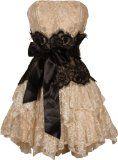 Strapless Bustier Contrast Lace and Crinoline Ruffle Prom Mini Dress Junior Plus Size