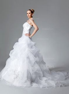 Ball-Gown Sweetheart Chapel Train Organza Satin Wedding Dress With Embroidered Ruffle Beading Sequins (002004178)