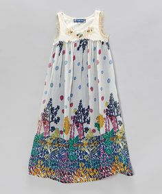 Another great find on #zulily! Ivory Floral Patio Dress - Girls #zulilyfinds