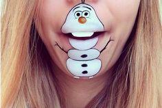 Elle utilise sa bouche pour donner vie à des personnages de dessins animés #maquillage #olaf #lareinedesneige #disney | fénoweb