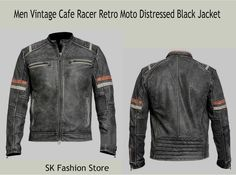 Once Again Outstanding Edition in Men's Fashion presented by our well- known Online store SK Fashion Store. Men Vintage Cafe Racer Retro Moto Distressed Black Jacket made from Real Leather. You can get easily this stylish jacket in discounted price.