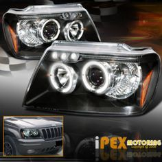 1999 2004 Jeep Grand Cherokee Brightest Dual LED Halo Projector Headlights Black | eBay