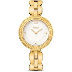 Fendi My Way Yellow Gold Pvd Stainless Steel Watch, 36mm (87,785 INR) ❤ liked on Polyvore featuring jewelry, watches, stainless steel jewelry, gold jewellery, gold stainless steel jewelry, engraved watches and engraving watches