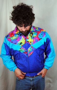 Vintage 90s Rainbow Neon NIKE Jacket Windbreaker