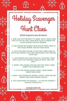 As kids get older they ask for more expensive gifts, which of course means less under the tree. A Holiday Scavenger hunt can make present time last longer!