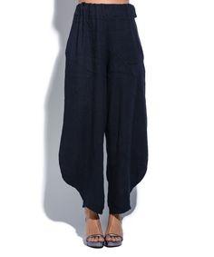 Navy Blue Linen Wide-Leg Pants
