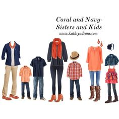 Coral and Navy for Sisters and Kids by kathryndeane on Polyvore