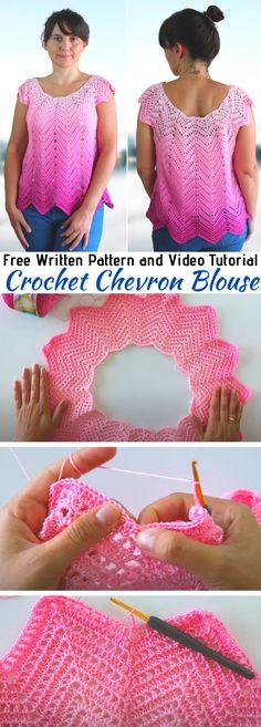 Crochet Summer Dresses, Crochet Summer Tops, Crochet Tops, Free Crochet, Crochet Sweaters, Crochet Jacket, Crochet Blouse, Chevron Blouse, Crochet Woman