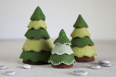 Felt sewing and embroidery pattern for three mini trees.  These trees make the perfect accompaniment to a woodland playset. Make three different sizes – add snow for some winter trees or use green felt for summer time ones. They also make a lovely mini enchanted forest on the corner of a desk or shelf.  This listing is for a hand sewing pattern and tutorial with step-by-step instructions and colour photographs for making three different sized trees. It also includes a 10 page e-book with…