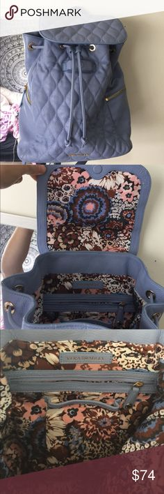 Leather Vera Bradley Backpack Perfect condition Vera Bradley Leather Backpack. Cute pattern inside and nice blue color leather on outside Vera Bradley Bags Backpacks