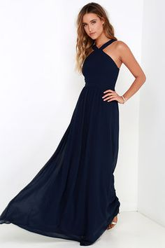 Air of Romance Navy Blue Maxi Dress at Lulus.com!
