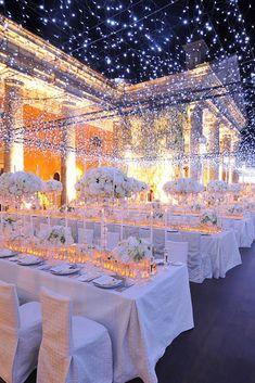35 Amazing Wedding party Illumination Concepts That Really Inspire White Wedding Decorations, Wedding Themes, Wedding Designs, Hall Decorations, Wedding Table, Wedding Day, Wedding Reception, Wedding Parties, Wedding Season