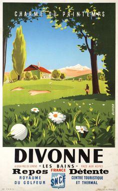 1950 Divonne les Bains, Charme du Printemps, Royaume du Golfeur,France vintage travel poster