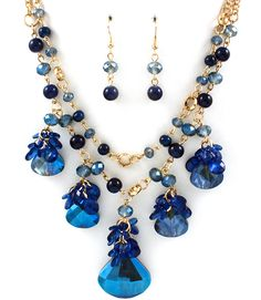 Andrea Necklace in Sapphire Crystal on Emma Stine Limited