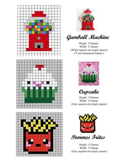 Gumball machine, cupcake, pommes frites - cross stitch or Hama beads pattern