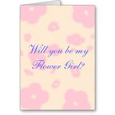 Pink flower Wedding Stationary Flower Girl custom Card