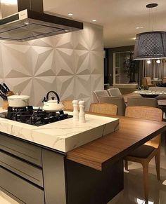 DOM - Arquitetura e Interiores ( Modern Kitchen Island, Kitchen Benches, Home Room Design, House Design, Kitchen Interior, Kitchen Decor, Kitchen Organization Pantry, Best Kitchen Designs, Cuisines Design