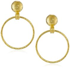GURHAN Geo Small Hanging Hoop Post Earrings. Hammered 24k yellow gold earrings with dangling hoop and ball studs. Post-with-friction-back findings. Imported.