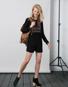 BSK front embroidered jumpsuit - Dresses & Jumpsuits - Bershka Taiwan