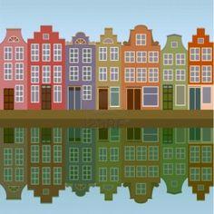 Casas de Amsterdam en la orilla del canal transparente Foto de archivo - 10896342