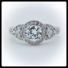 Moissanite Engagement Ring Diamond Side Stones 14k  Gold - Ring Name: Vintage Three Stone. $2,350.00, via Etsy.