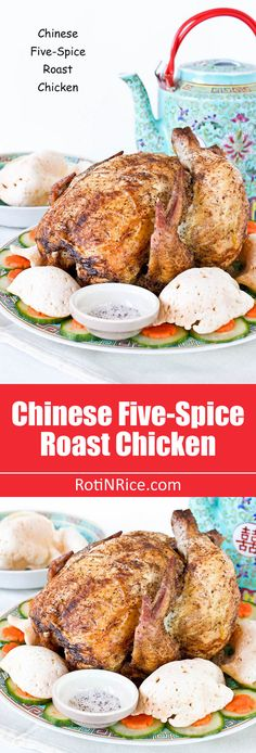 Fragrant crispy skin Chinese Five-Spice Roast Chicken served with pepper salt. Perfect for the Chinese New Year Reunion Dinner or a…