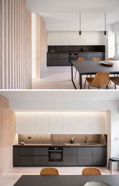 Interior Design Ideas - The wood slat wall in this modern apartment incorporates secret doors, and all storage and service requirements for the apartment, including kitchen appliances and hanging cupboards, resulting in a highly efficient plan. Wood Slat Wall, Wood Slats, Hidden Kitchen, Open Plan Kitchen, Hidden Door Bookcase, Hidden Doors, Apartment Renovation, Dining Nook, Bathroom Layout