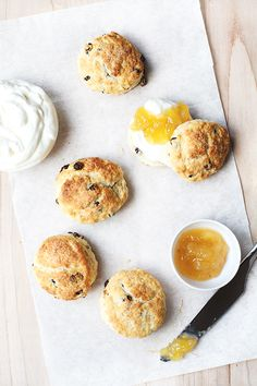 ginger currant scones with lemon whipped cream.