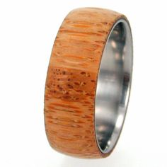 Titanium Ring with Eco-Friendly Bamboo Wood Overlay $175.00