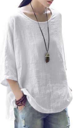 UP TO 59% OFF! Vintage Loose Pure Color 3/4 Sleeves Baggy Shirts. SHOP NOW!