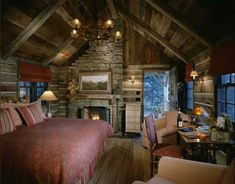 Rustic tiny cabin interior ♥
