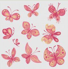 Pink Butterflies Cross Stitch Pattern