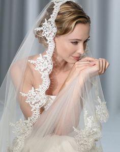 Bel Aire Bridal Cathedral mantilla veil with beaded Alençon lace edge // Veil # V7175C