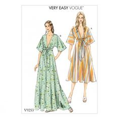 Vogue Patterns Misses' Deep-V Kimono-Style Dresses with Self Tie Sewing Pattern, Red Vogue Dress Patterns, Vintage Vogue Patterns, Vogue Sewing Patterns, Clothing Patterns, Maxi Dress Sewing Pattern, Pattern Sewing, Skirt Sewing, Skirt Patterns, Coat Patterns