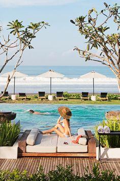 Alila's main pool sits right on Bali's secluded southwest coast. #Jetsetter Alila villa Soori (Bali, Indonesia)