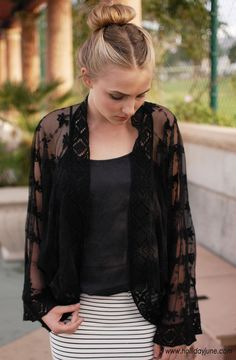 Black Lace Kimono with Crochet Trim by Olivaceous  #hollidayjune $58.00