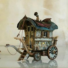 Amazing work by Pascal Tirmant, fairy caravan made by this amazing artist | fairiehollow.com