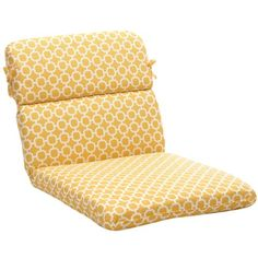 Pillow Perfect IndoorOutdoor YellowWhite Geometric Round Chair Cushion *** Find out more by clicking the VISIT button