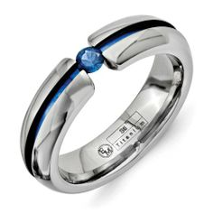 Chisel - Titanium with Blue Groove & 3.5mm Sapphire 6mm Polished Band Size 6--13