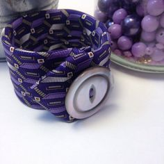 Purple Necktie Cuff Bracelet Gift For Her Stocking by EntirelyChic