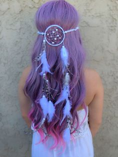 """Stunning dreamcatcher headband featuring white feathers as well as natural chinchilla feathers. This unique handmade dreamcatcher has a 3"""" ring (in diameter) with white stone beads in the center. Ring"""