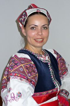 Polomka, Upper Hron region, Slovakia / Woman folk costume from Polomka, Slovakia Folk Costume, Costumes, Christmas Sweaters, Cap, People, Dresses, Women, Fashion, Ukraine