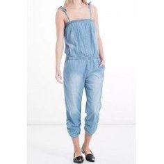 #trendsgal.com - #Trendsgal Spaghetti Strap Bleach Wash Denim Jumpsuit For Women - AdoreWe.com